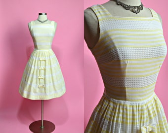 "1950's Vintage White and Yellow Striped Sheer Cotton Summer Dress Sundress Casual Dress Garden Party Dress 24"" Waist XSmall"