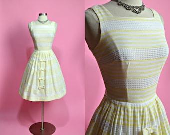 "1950's Vintage White and Yellow Striped Sheer Cotton Summer Dress Sundress Casual Dress Garden Party Dress 24"" Waist XSmall"