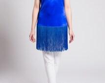 Silk tunic with fringe, silk blouse, cobalt blue, shimmering satin silk, fringe, neckline detail, elegant, fashionable, comfortable, summer