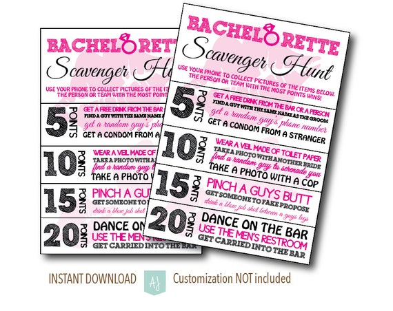 Items Similar To Bachelorette Party Scavenger Hunt Game Bridal Shower Drinking Hens Customization NOT Included