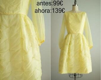 Vintage 1950s dress / 50s yellow party dress / 50s prom dress / Lemon Meringune Dress