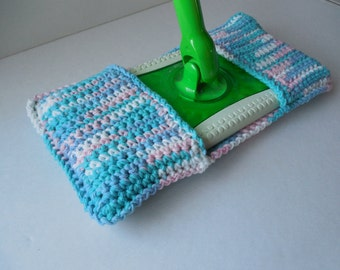 Mop Cover - Sweeper Cover - Re-usable Cleaning Supplies - Handmade Crochet - Blue and Pink Ombre Varigated - Ready to Ship