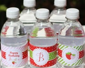 Strawberry Berry Sweet Printable Personalized WATER BOTTLE Labels by Marbella Printables
