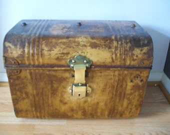 Characterful Antique Metal / Tin Travel Trunk.