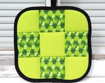 Green Patchwork Potholder, Green Patchwork Pot Holder, Green Pot Holder, Patchwork Potholder, Neon Green Potholder, Quilted Pot Holder