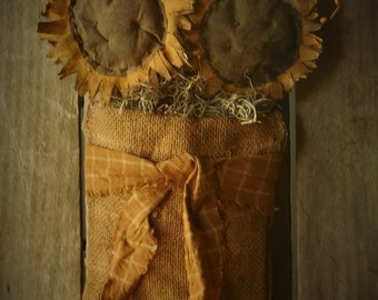 Primitive Grungy Sunflowers in Burlap Bag on Ole Board