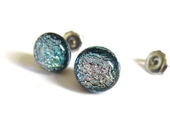 Silver stud earrings - Fused dichroic glass 1cm round earrings, for her birthday or Xmas gift, elegant post earrings, special studs ER207