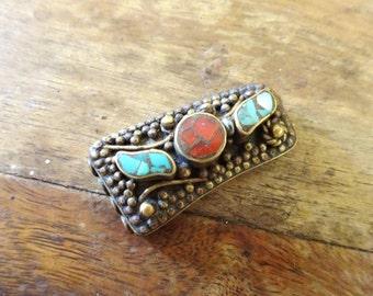 VINTAGE Tibetan Turquoise & Carnelian Inlay Bead