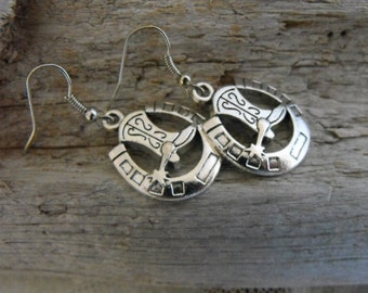 Cowboy Boots Horseshoe Earrings Cowgirl Southwest  Country Western Jewelry