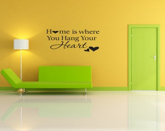 Wall Decal Home Is Where You Hang Your Heart Inspirational Quotes Wall Decals Wall Sticker Wall Quote Decal (V278)