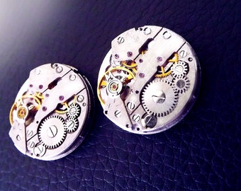 Steampunk cuff links, unisex steampunk cufflinks, round steampunk cufflinks, mens steampunk, watch movement cuff links, OOAK cuff links.