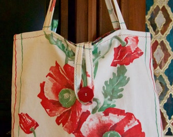 Poppies Galore:  Vintage-inspired off-white linen blend market or tote bag with orange poppies