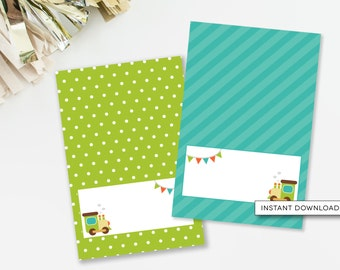 Train Food Cards, Choo Choo Train Birthday Party, Tent Cards, Boys Birthday Decor, Teal and Lime, Train Party Decor, INSTANT DOWNLOAD, #51