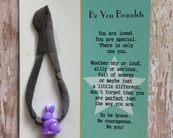 Be You Bracelet- Charcoal w/Purple Bunny - Useful in Helping With Fidgeting, Sensory Needs, Separation Anxiety, Positive Reinforcement