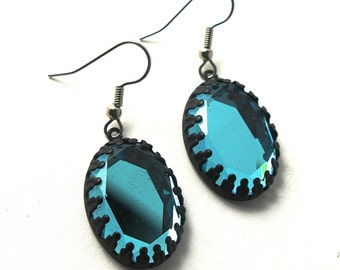 Mistery Mirror Blue Water Gems in Black Lace Bezel Setting Earrings with Sterling Silver or Hypoallergenic Stainless Steel Ear Wires