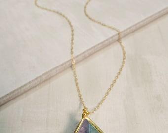Rainbow Flourite Crystal Pendant Necklace