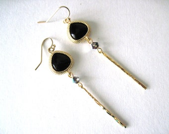 Black  earrings    Black and gold earrings     Gold and Black earrings