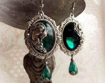 Emerald earrings with cherubs gothic victorian earrings baroque angel earrings emerald green jewel medieval dangling renaissance earrings