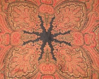 SALE! Antique circa 1800s PAISLEY KASHMIR Shawl-Wrap Tablecloth Wool-Silk Reversible