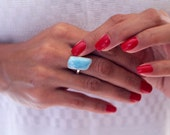 Larimar Ring, Freeform Larimar Stone with Caribbean Blue Color, US Size 7.75