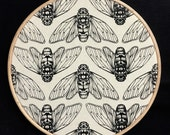 "Pointillism Tiger Moth Repeat Pattern Screen Print on Natural Calico Framed in 8"" Embroidery Hoop"
