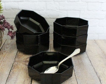 French Black Glass Bowls, Arcorac France Bowls, Octagon Bowls, Modern Bowls, Cereal Bowls, Soup Bowls