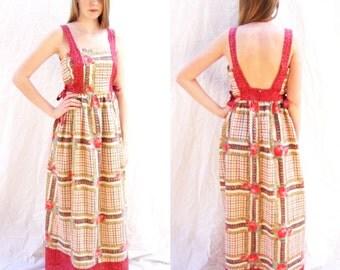vintage maxi dress, hippie, 1960s,boho, dress,  apron, cotton print, hostess dress, size medium by Tiffany Loungewear