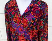 vintage kaleidoscope stained glass psychedelic print button front dress late 60s early 70s Joan Curtis