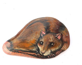 Painted rock, rat, home decor, ooak, hand made, painted stone