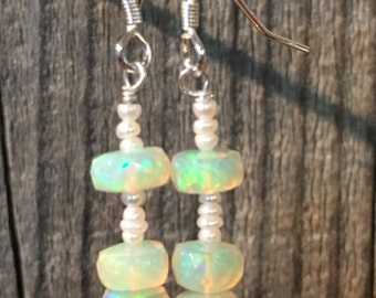 Opal & Seed Pearl Earrings