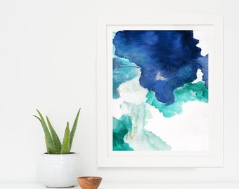 Large Abstract Painting Giclee Print, Abstract Art Print, Huge Painting Abstract Print Art, Navy Blue Artwork, Blue Abstract Wall Art, Begin