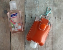 Small Hand Sanitizer Holder, Orange Vinyl with Snap, Great for Backpacks, Bags and Purses, Quick Ship, Choose from 24 Colors, Made in USA