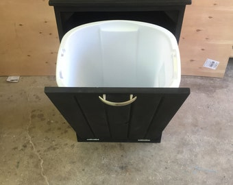 Gorgeous Handcrafted Wooden Wood Black Trash Can Container - Recycle Can
