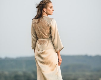 Silk Robe, Long Silk Kimono, Gold Silk Robe, Lace Robe, Bridal Robe