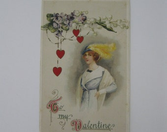 Valentine's Day Vintage Post Card - To My Valentine - John Winsch Series 6553 - Used - 1914