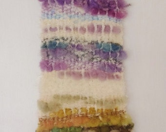 "Hand Woven Wool Tapestry - Super Soft Fluffy White Green Purple - 7""x20"" - Wall Hangings - Textiles - Fibre Art - *Free Shipping*"