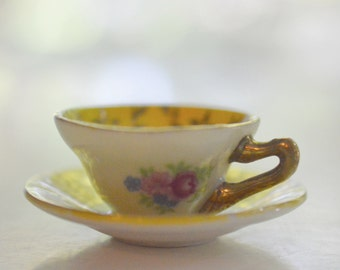 Miniature Tea Cup and Saucer Set Yellow Grosvenor