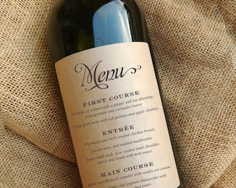 Wedding Menu Wine Bottle Labels \\ Wedding Menu \\ Centerpiece