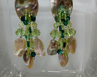ABALONE PERIDOT and Emerald Crystal Sterling Silver  Ear Wire EARRINGS