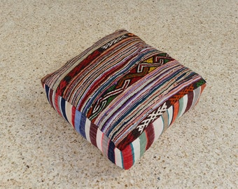 Moroccan Vintage Floor Cushions / Made From Hand Woven  Kilim
