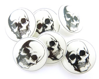 """6 Skull Sewing Buttons.  Human Skull Handmade Buttons. 3/4"""" or 20 mm Shank Style."""