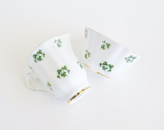 ROYAL GRAFTON Lucky Shamrocks Bone China Cream and Sugar Set ENGLAND