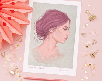Original Fashion Illustration Print by Rachel Corcoran - Over The Rainbow - Mermaid - Rainbow Highlighter - Make Up Print - Wall Art