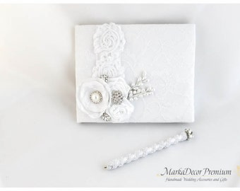 Wedding Lace Guest Book Pen Set Custom Bridal Flower Brooch Guest Books in White