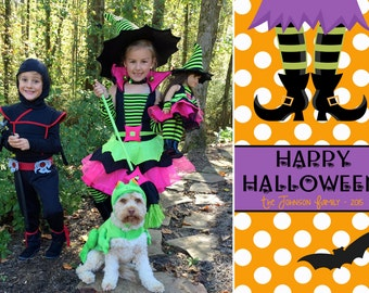 Halloween Photo Card including Backside, Happy Halloween Card, Polka Dot, Orange and White, Witch Halloween Card, Bat Halloween Card