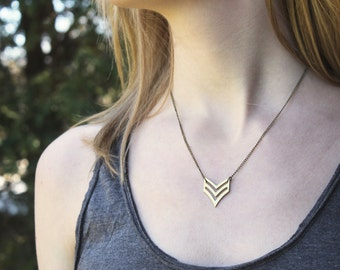 Double Chevron Necklace // Brass Chevron // Military Stripes // Geometric Necklace