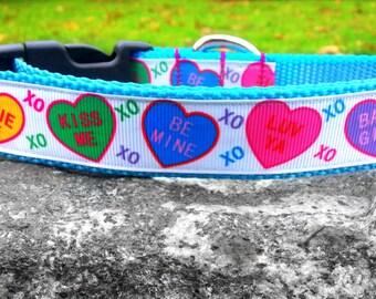 Valentine's Day Heart Candy 1 Inch Width Dog Collar