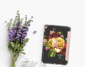 Platinum Edition Vintage Floristry with Rose Gold Detailing Hybrid Smart Cover Hard Case for the iPad Air 2, iPad mini 4 , iPad Pro