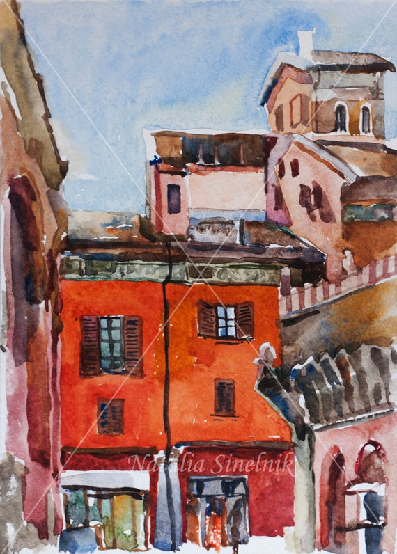Italian Bologna painting of Bologna piazza di Porta Ravegnana landscape digital download from original watercolor medieval old city in Italy