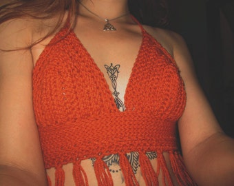 Small/Medium orange crochet fringe halter top.